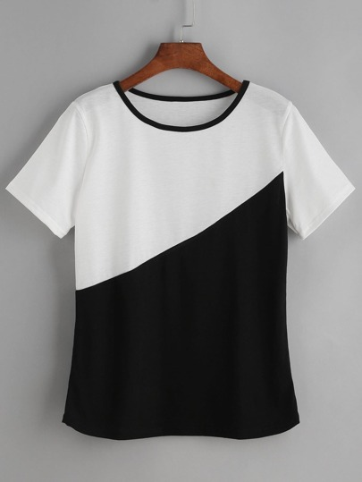 Contrast Trim Color Block Tee