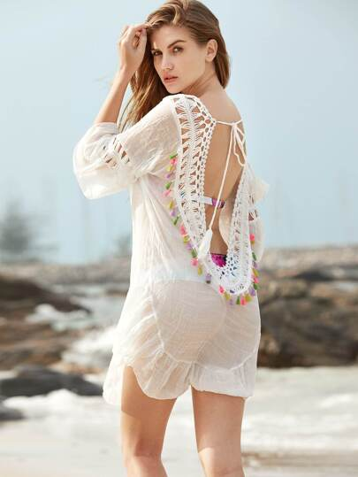 Crochet Insert Open Back Tassel Detail Cover Up