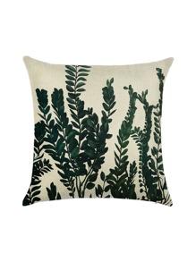 White Plant Print Linen Pillowcase Cover