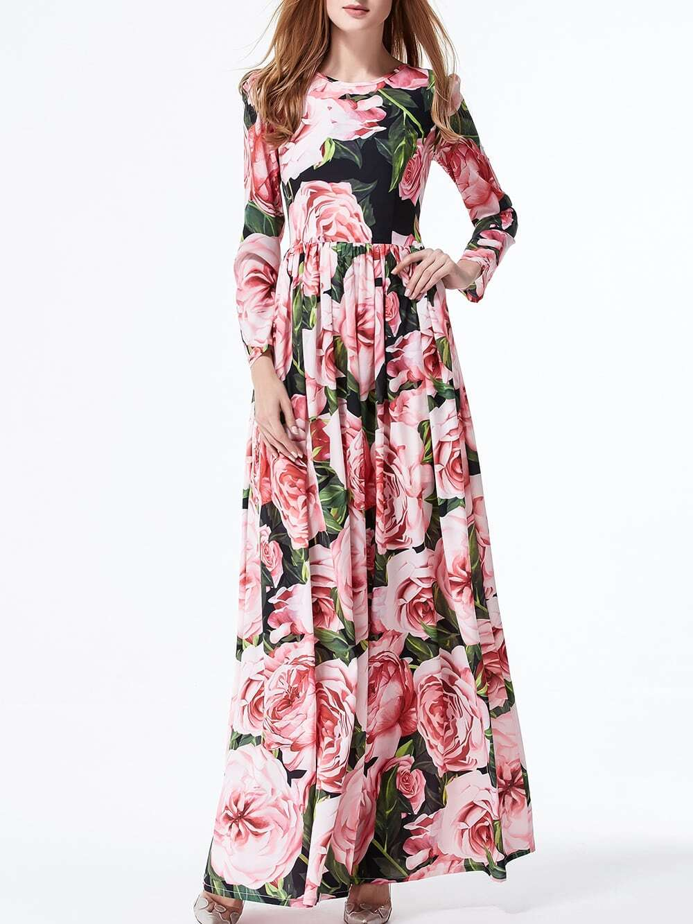 Фото Multicolor Flowers Print Maxi Dress. Купить с доставкой