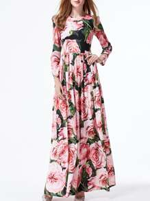 Multicolor Flowers Print Maxi Dress