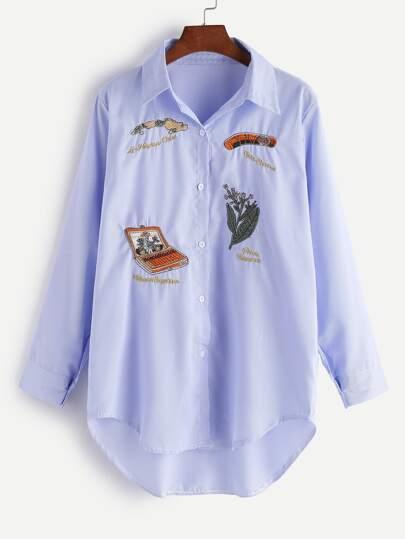 Вышивка на рубашке в полоску