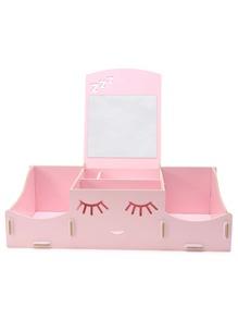 Sostenedor de maquillaje DIY con sonrisa feliz - rosa