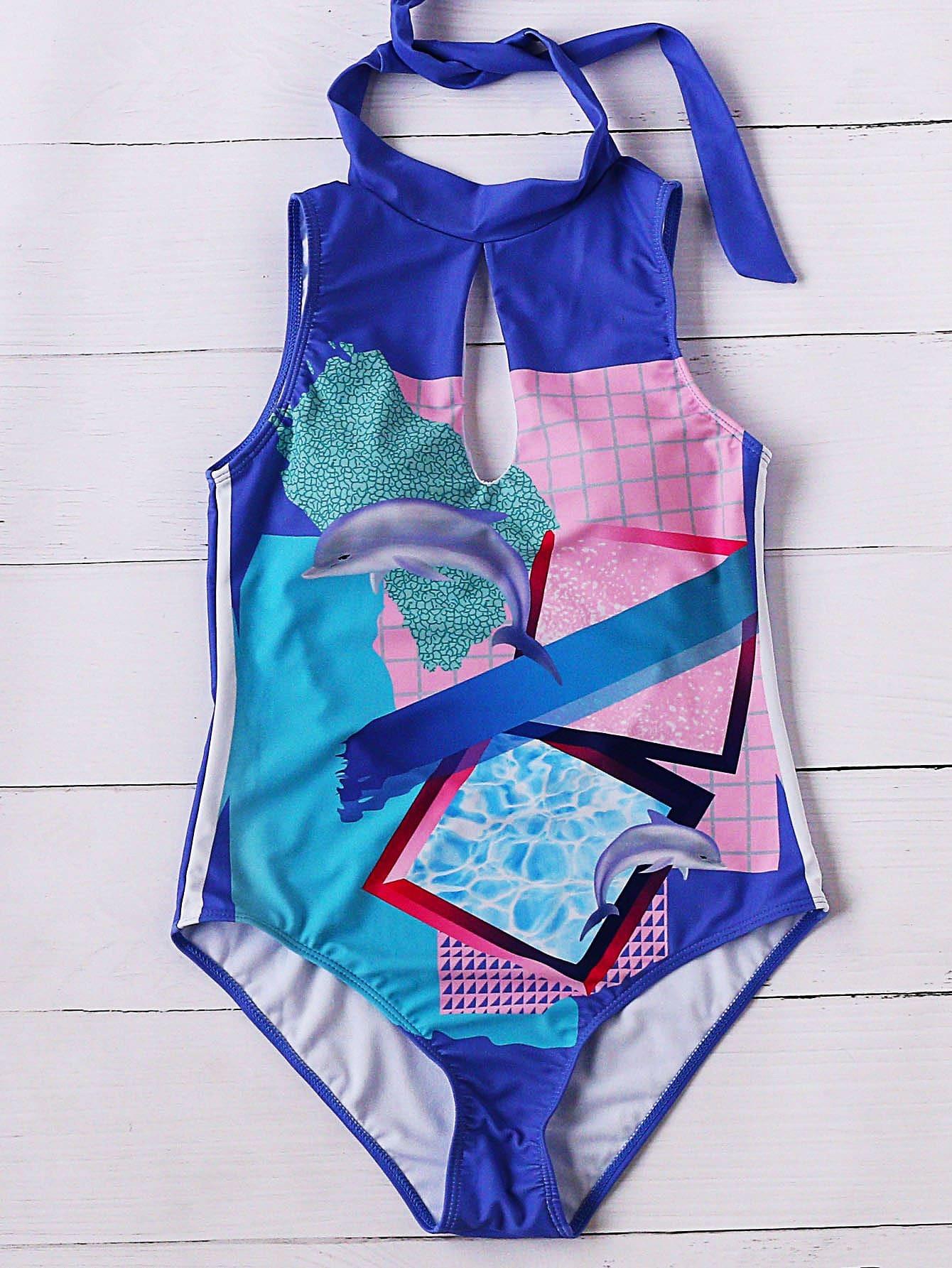 Multicolor Dolphin Print Keyhole One-piece Swimwear