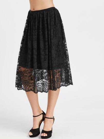 Black Elastic Waist Lace Skirt