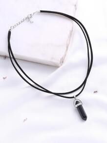Black Pendant Double Layered Necklace