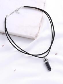 deux couches collier pendentif noir
