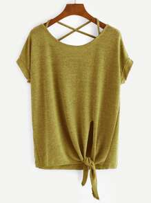 Yellow Criss Cross Back Knotted Hem T-shirt