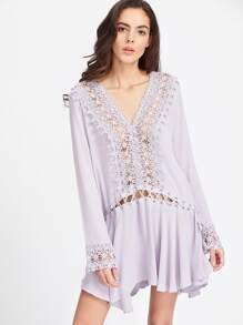 Purple Contrast Lace Eyelet Lace Up Ruffle Hem Dress