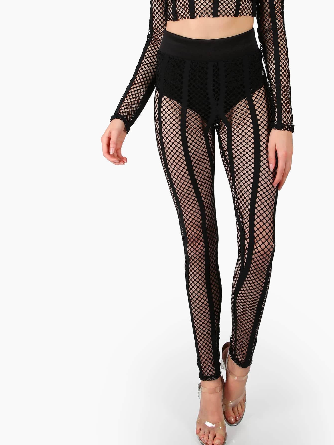 Striped Fishnet Leggings BLACK -SheIn(Sheinside)