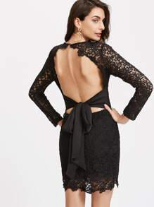 Bow Tie Open Back Plunging Lace Dress