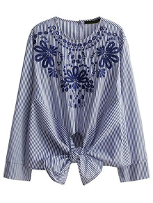 Embroidered Vertical Striped Knot Detail Blouse