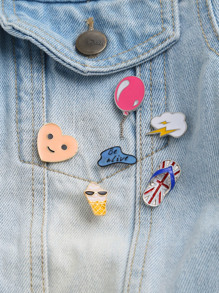 Face And Balloon Cute Brooch Set