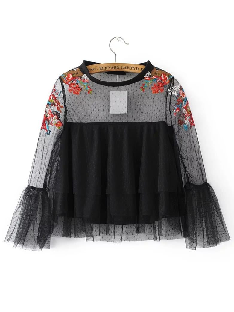 Black Embroidery Bell Cuff Mesh Blouse