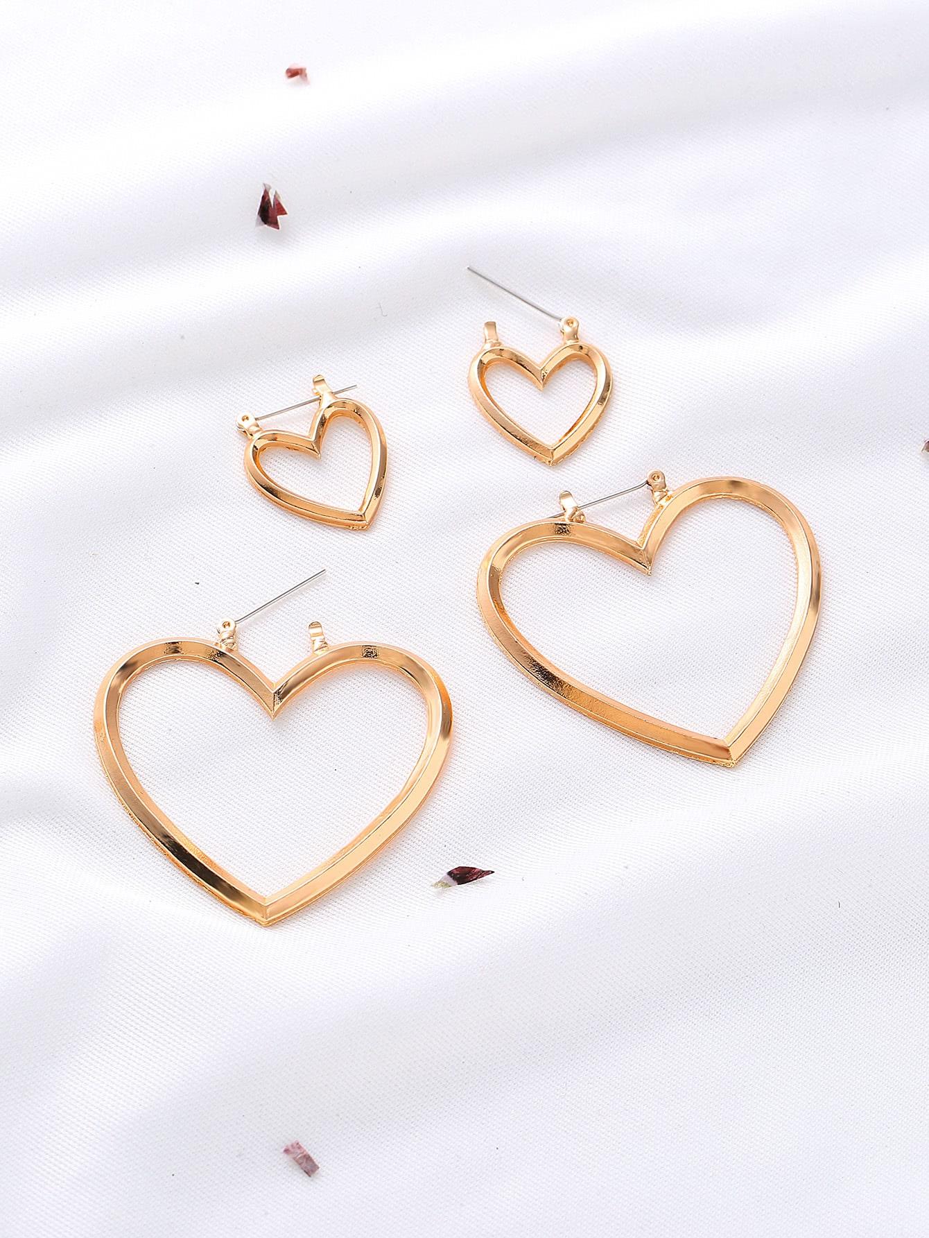 Фото Gold Cutout Heart Multiway Earrings. Купить с доставкой