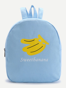 Blue Banana Print Canvas Backpack