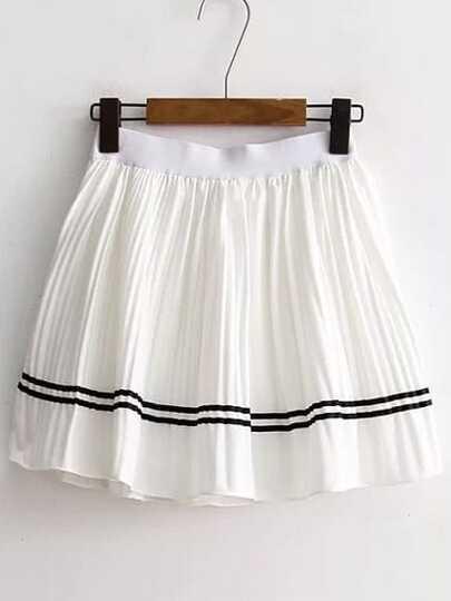 White Striped Trim Pleated Skirt