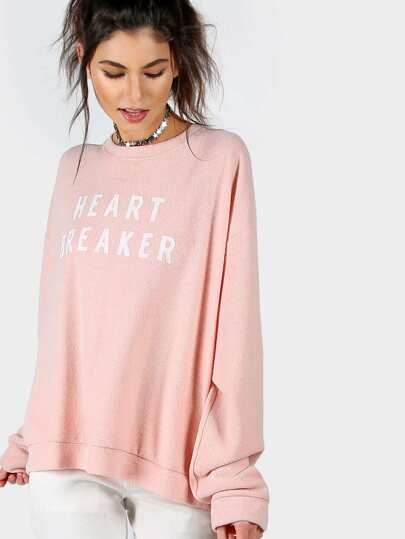 Letter Print High Low Dropped Shoulders Sweatshirt