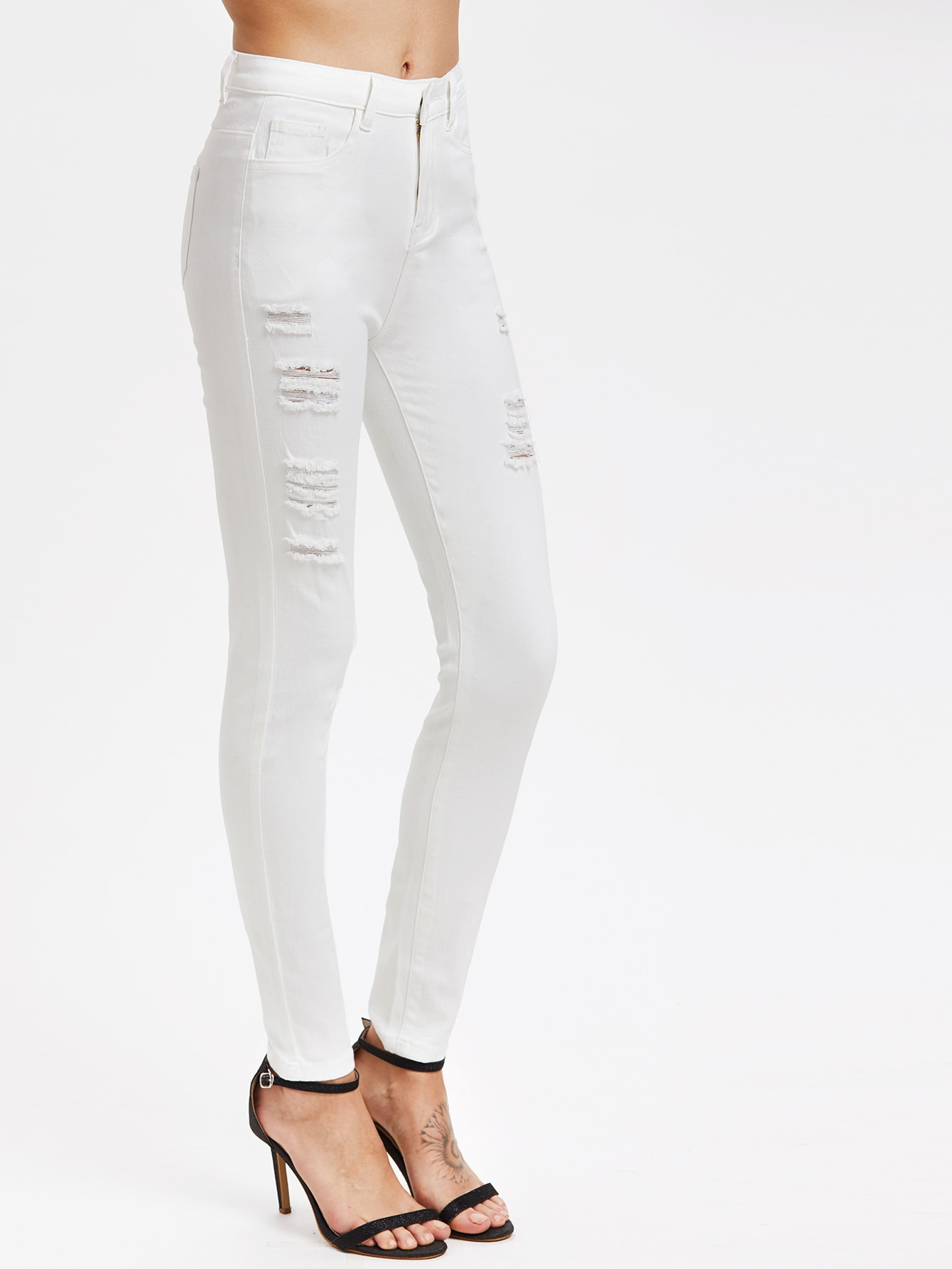 Middle Rise Distressed Skinny Jeans embroidered distressed skinny jeans