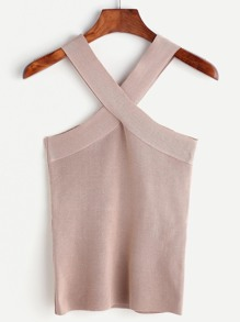Khaki Twist Neck Tank Top