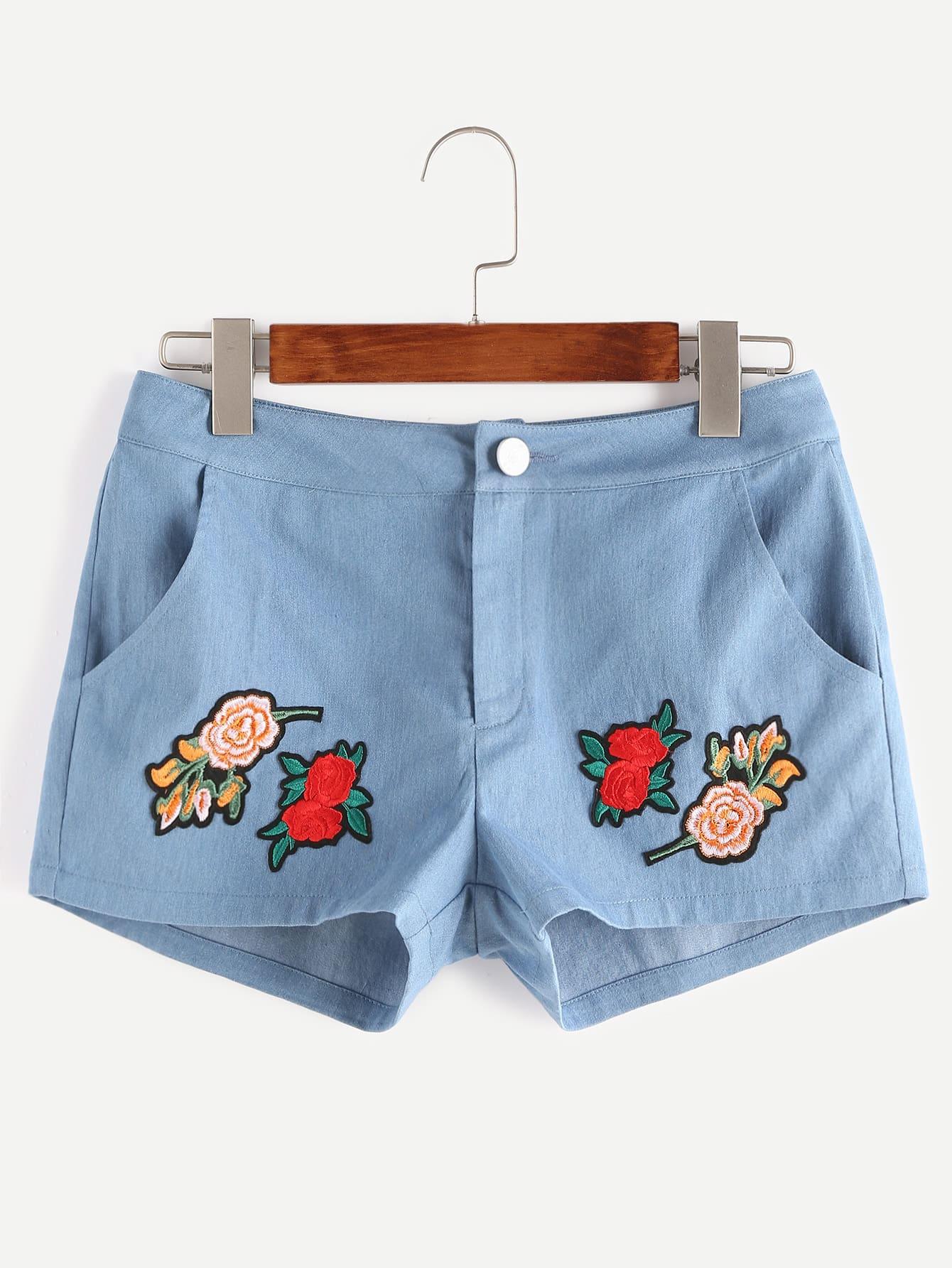 Фото Blue Flower Patch Denim Shorts. Купить с доставкой