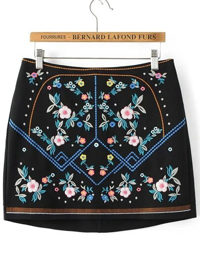 Black Embroidered Skirt With Zipper