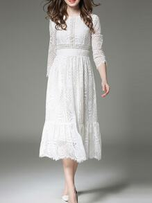 White Mesh Lace Long Dress