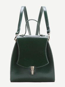 Dark Green PU Backpack With Convertible Strap