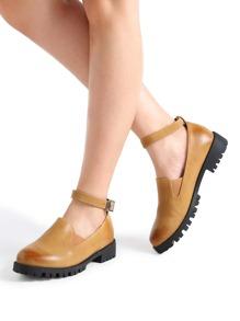 Khaki Ankle Strap PU Shoes