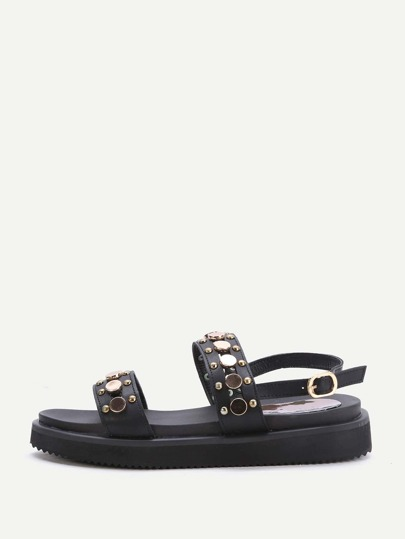 Black Studded Detail Flat Sandals