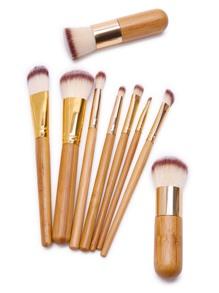 Bambou poignée de maquillage professionnel d'or jeu de brosse 9pcs