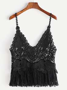 Fringe Hemline Hollow Out Lace Cami Top