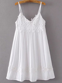 White Spaghetti Strap Contrast Lace Dress