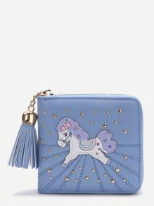 Monedero cuadrado con parche de caballo - azul