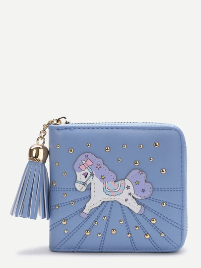 Blue Horse Patch Square Purse
