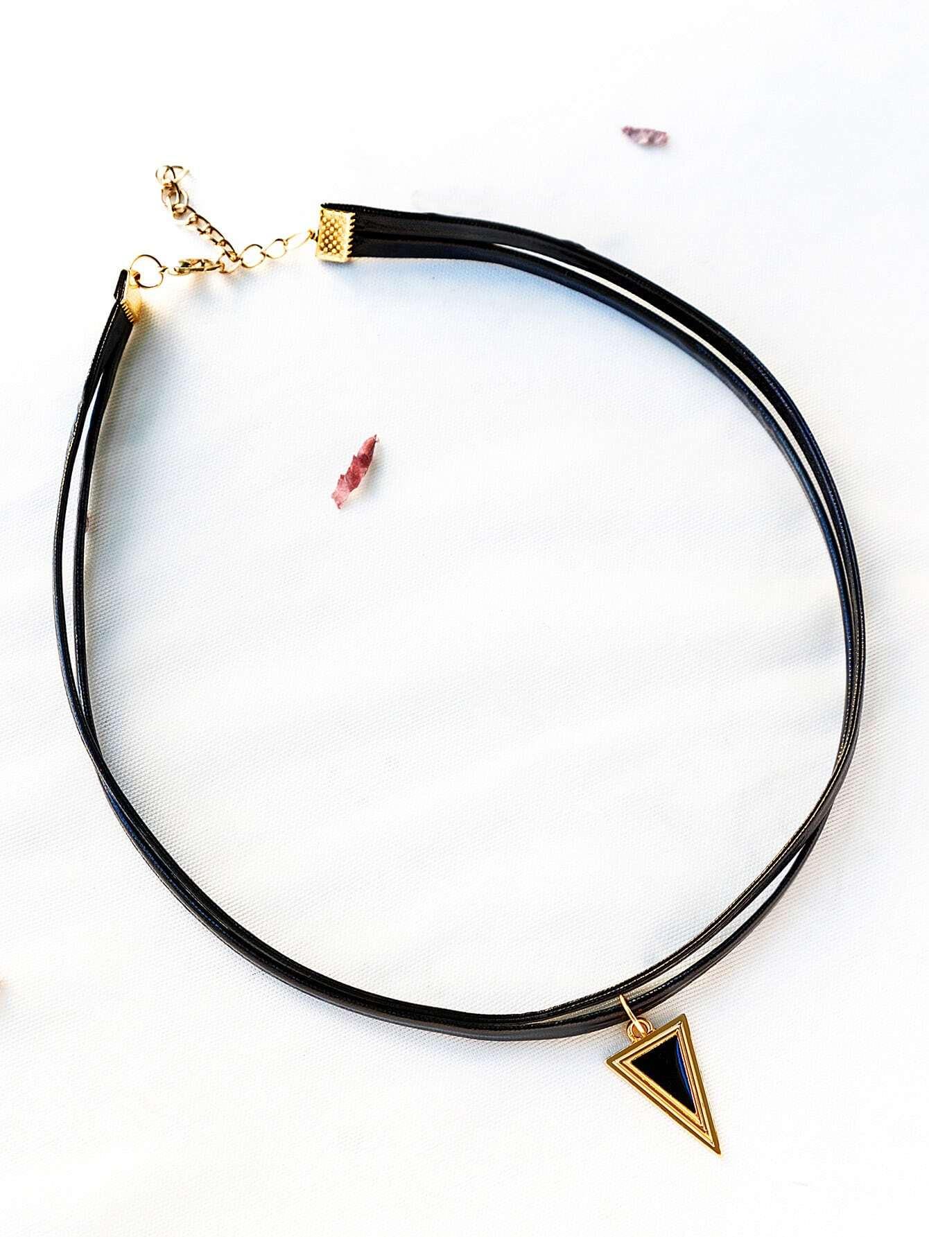Фото Black Double Layered Triangle Pendant Choker. Купить с доставкой