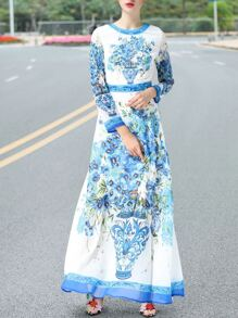 Blue Crew Neck Floral Maxi Dress