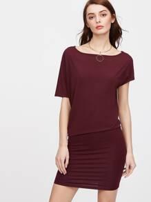 Asymmetric Sleeve Blouson Dress
