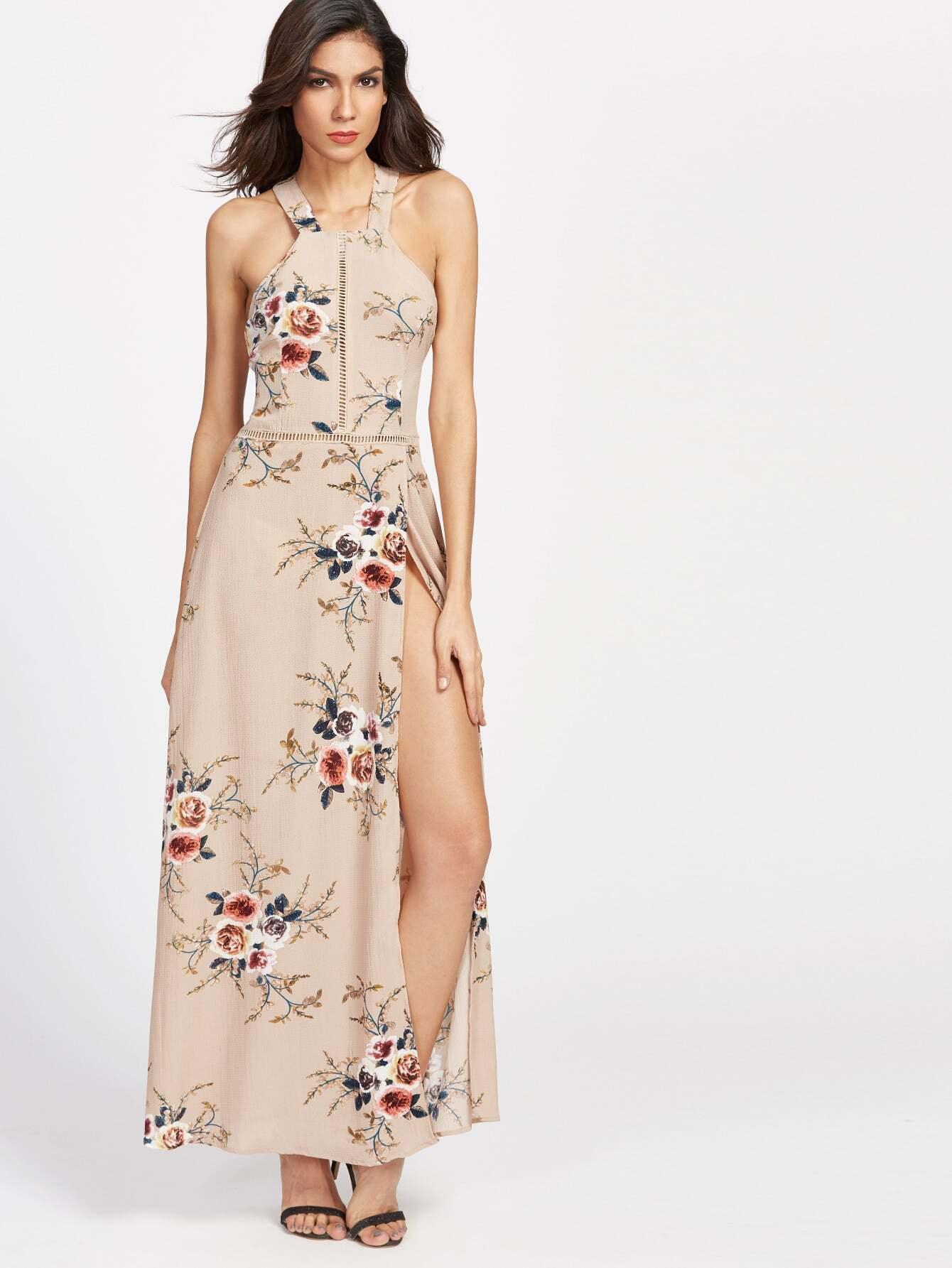 Khaki Florals Halter Open Back High Slit Dress dress170314314