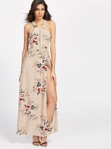 Khaki Florals Halter Open Back High Slit Dress
