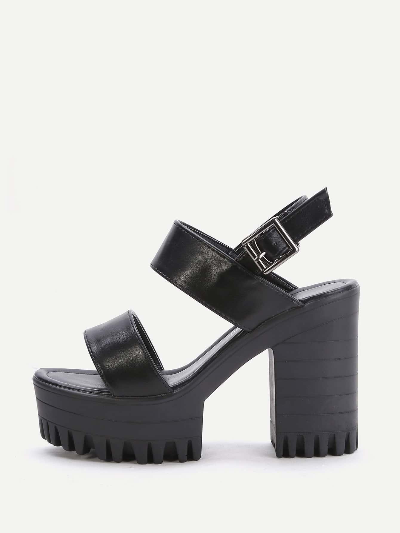Image of Black Platform Chunky Heeled PU Sandals