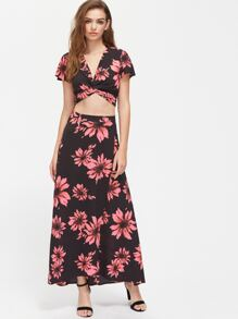 Flower Print Twist Wrap Top And Slit Skirt Co-Ord