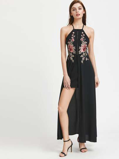 Crisscross Back Ladder Cutout Embroidered Overlay Dress