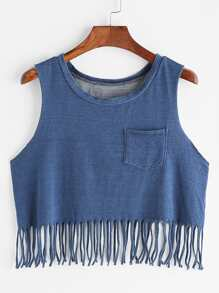 Denim Look Pocket Front Fringe Tank Top