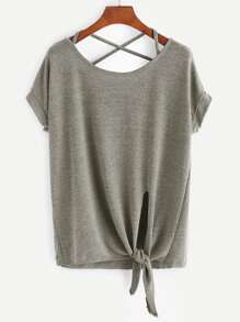 Khaki Criss Cross Back Knotted Hem T-shirt
