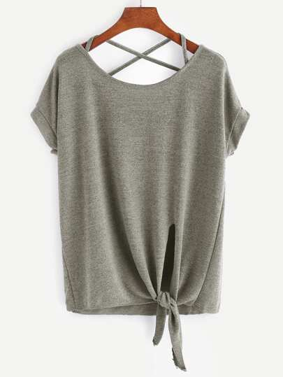 Criss Cross Back Knotted Hem Tee