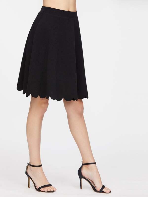 Elastic Waist Scallop Hem Textured Skirt, Jovana