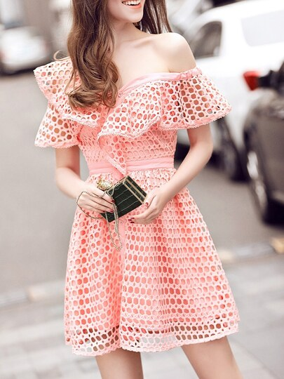 Pink One Shoulder Ruffle Hollow Dress