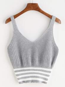 Marled Knit Double V Neck Striped Hem Tank Top