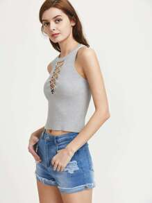 Ribbed Crisscross Plunging Tank Top pictures